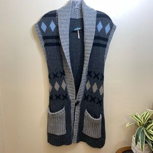 Free People Long Vest Sleeveless Wool Size Small